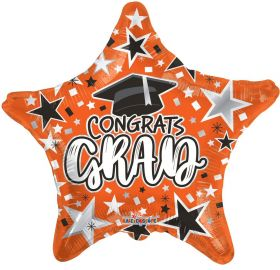 18 inch Congrats GRAD Star Foil Balloon - Orange