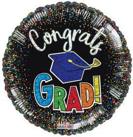 18 inch Kaleidoscope Congrats Grad Confetti Holographic Foil - Pkg