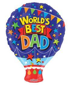 18 inch Worlds Best Dad Gellibean Hot Air Balloon Shape Balloon