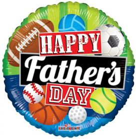 18 inch Happy Father's Day Sports Foil Mylar Circle Balloon