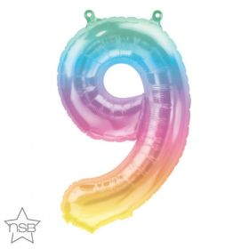 16 inch Northstar Jelli Ombre Number 9 Foil Mylar Balloon