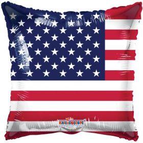 18 inch American Flag Foil Mylar Patriotic Square Balloon