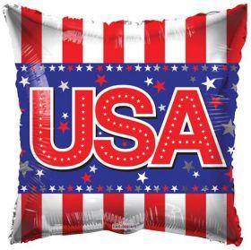 18 inch USA Foil Mylar Patriotic Square Shape Balloon