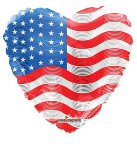 18 inch American Flag Foil Mylar Patriotic Heart Balloon