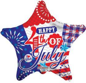18 inch Happy 4th of July Foil Mylar Patriotic Star Balloon
