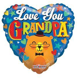 18 inch Love You Grandpa Bear Foil Mylar Heart Shape Balloon