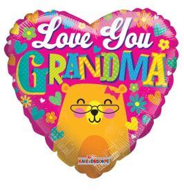 18 inch Love You Grandma Bear Foil Mylar Heart Balloon
