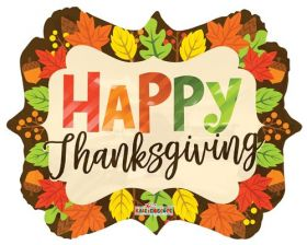 18 inch Thanksgiving Leaves Marquee Foil Mylar