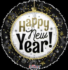 18 inch Happy New Year Clock Circle Foil Balloon