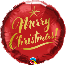 18 inch Qualatex Christmas Gold Script Red Foil Balloon - Packaged