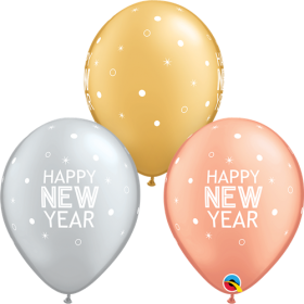 Qualatex 11 inch New Year's Sparkles & Dots Special Assorted Latex Balloons - 50 count