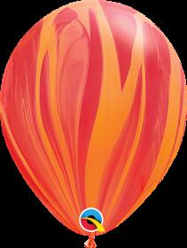 Qualatex Red Orange Super Agate 11 inch Latex Balloon - 25 count