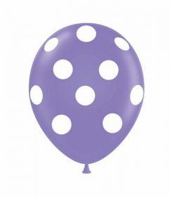 11 inch Tuf-Tex Lavender Polka Dot Print Latex - 50 count