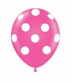 11 inch Tuf-Tex Hot Pink Polka Dot Print Latex - 50 count