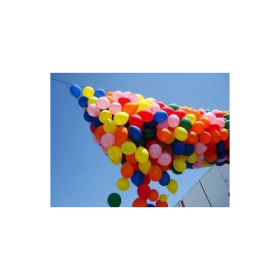 Pre-strung 100 Balloon Drop Net - Basic Style 3 x 7 Feet Filled for Low Ceilings