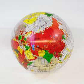 16 inch Clear Globe Design Beach Ball (11 inch inflated diameter)