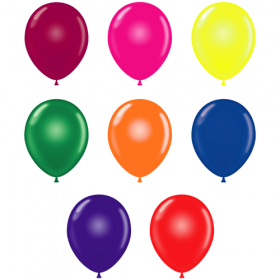 11 inch Tuf-Tex Assorted Crystal Latex Balloons - 100 count