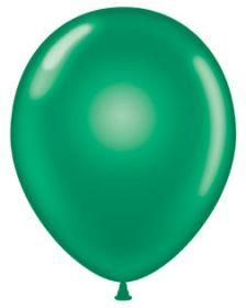 11 inch Tuf-Tex Crystal Emerald Green Latex Balloons - 100 count