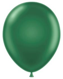 11 inch Tuf-Tex Metallic Forest Green Latex Balloons - 100 count