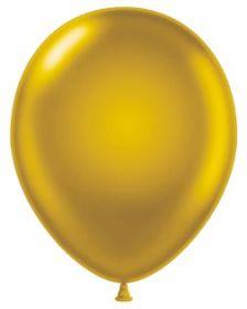 11 inch Tuf-Tex Metallic Gold Latex Balloons - 100 count