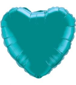 18 inch Teal Heart Foil Balloons