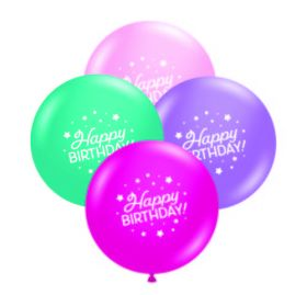 11 inch Tuf-Tex Whimsical Mix Happy Birthday 2 Sided Latex Balloons - 100 count