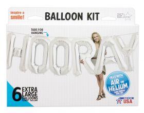 34 inch HOORAY Silver Letter Balloon Kit
