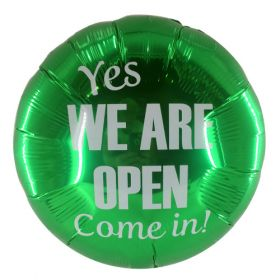 """18"""" Yes We Are Open Green Circle Foil Mylar Balloon - 10 pack"""