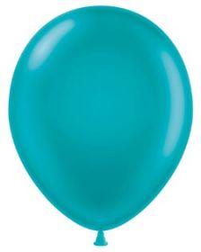 11 inch Tuf-Tex Metallic Teal Latex Balloons - 100 count