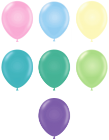 11 inch Tuf-Tex Assorted Pastel Latex Balloons - 100 count