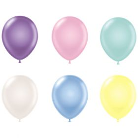 11 inch Tuf-Tex Assorted Pearl Latex Balloons - 100 count