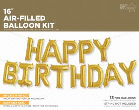 16 inch Gold HAPPY BIRTHDAY Letter Balloon Kit - AIR FILL