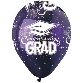 12 inch CTI Congratulations GRAD Purple Latex Balloons - 50 count