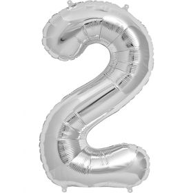 34 inch Silver Number 2 Foil Mylar Balloon