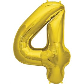 34 inch Gold Number 4 Foil Mylar Balloon
