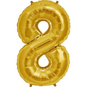 34 inch Gold Number 8 Foil Mylar Balloon
