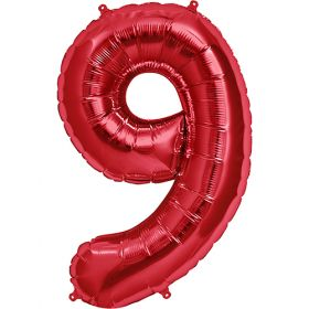 34 inch Red Number 9 Foil Mylar Balloon