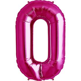 34 inch Magenta Number 0 Foil Mylar Balloon