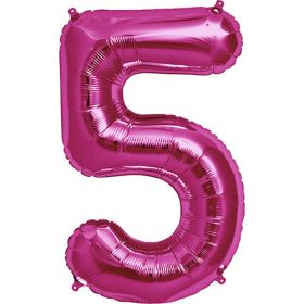 34 inch Magenta Number 5 Foil Mylar Balloon