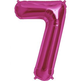 34 inch Magenta Number 7 Foil Mylar Balloon
