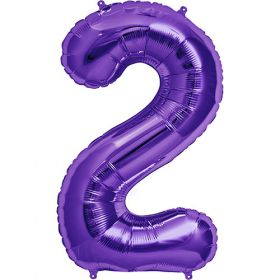 34 inch Purple Number 2 Foil Mylar Balloon
