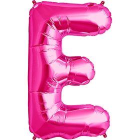 34 inch Magenta Letter E Foil Mylar Balloon