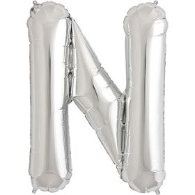 34 inch Silver Letter N Foil Mylar Balloon