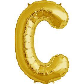 34 inch Gold Letter C Foil Mylar Balloon