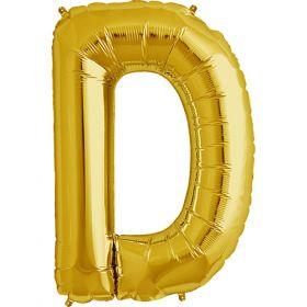 34 inch Gold Letter D Foil Mylar Balloon