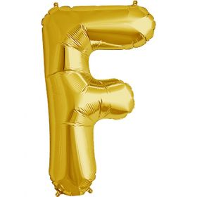 34 inch Gold Letter F Foil Mylar Balloon