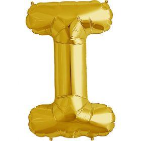34 inch Gold Letter I Foil Mylar Balloon