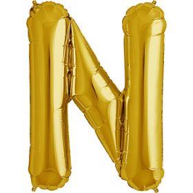 34 inch Gold Letter N Foil Mylar Balloon