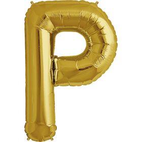 34 inch Gold Letter P Foil Mylar Balloon