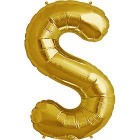 34 inch Gold Letter S Foil Mylar Balloon